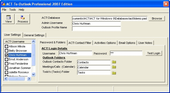 Convert your ACT! database into Outlook, including Notes, History, Attachments